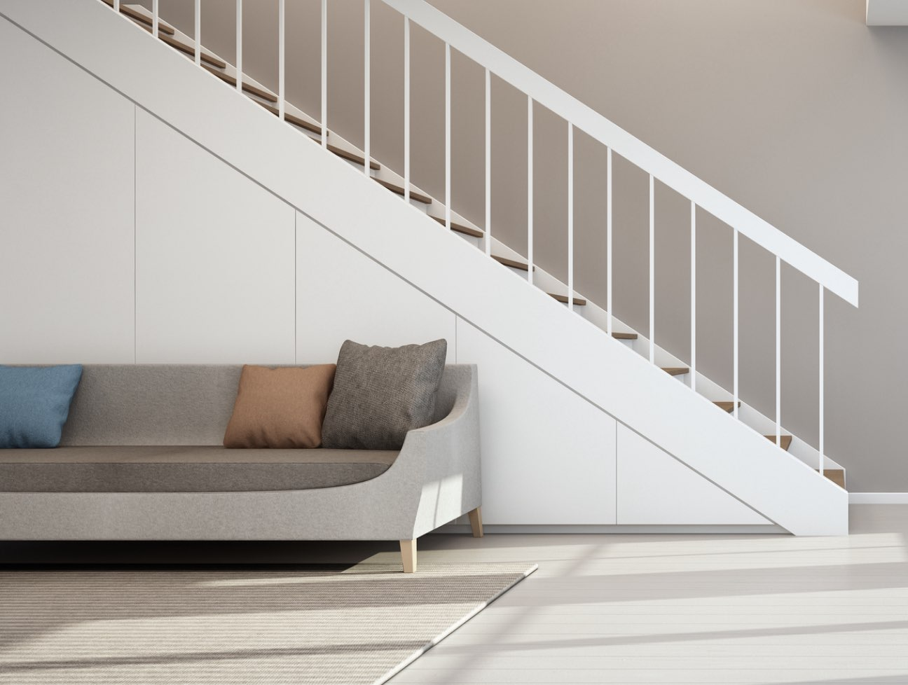 House interior with couch and stairs