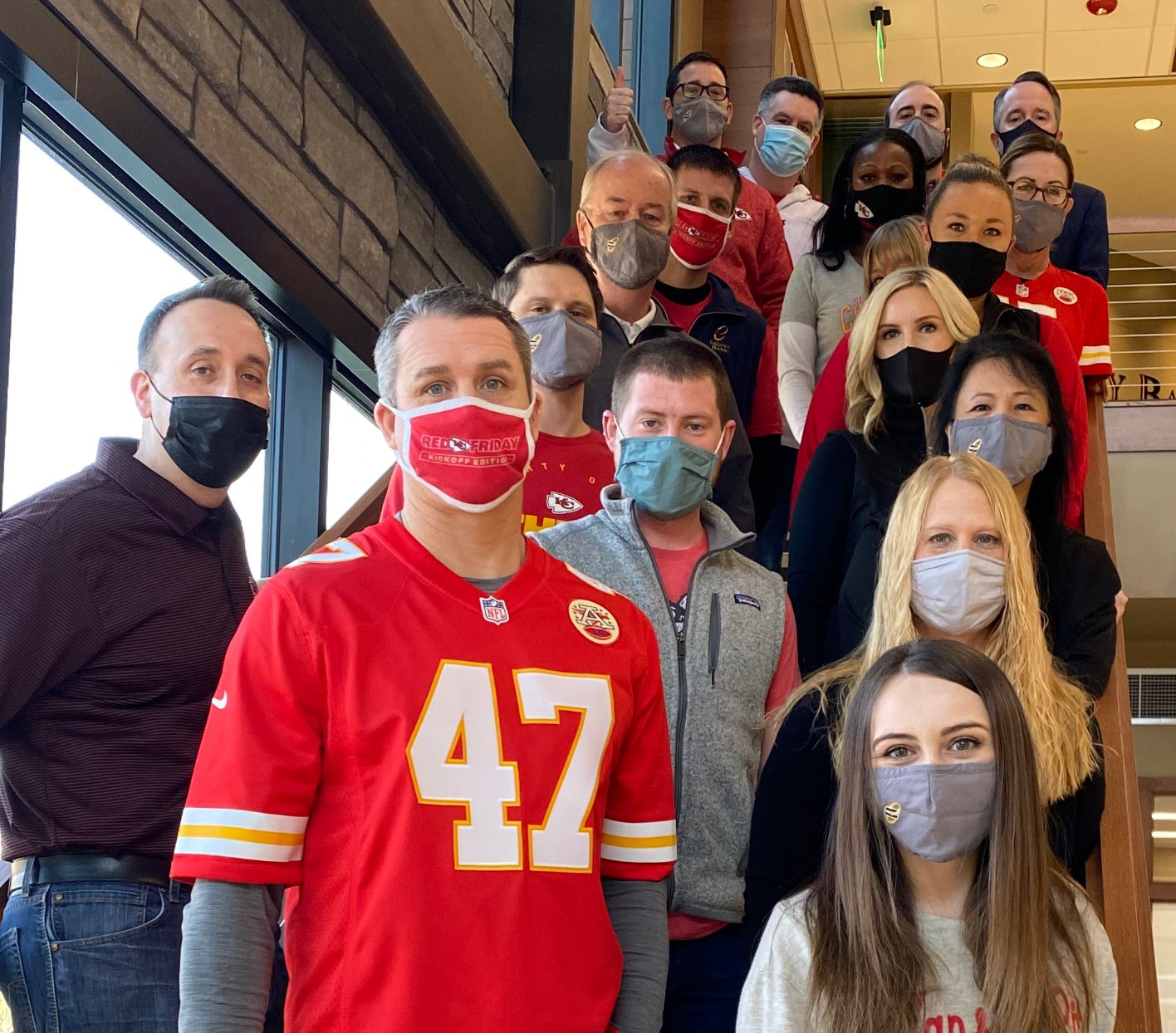 Group of Equity Bank employees wearing facemasks.