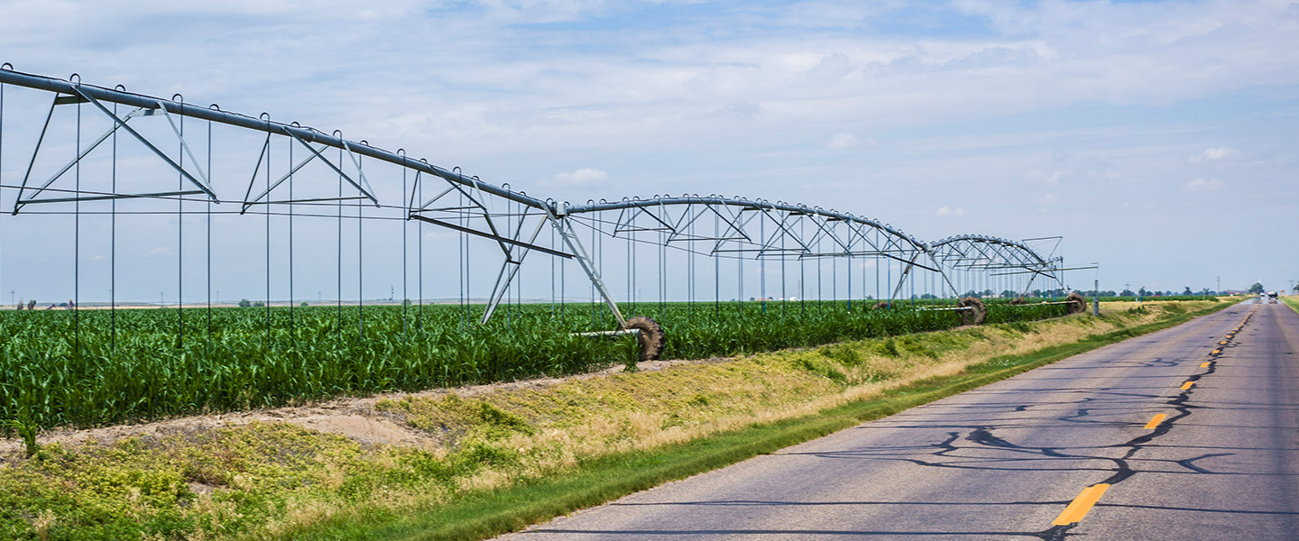 Irrigation equipment in green field with blue sky and open road