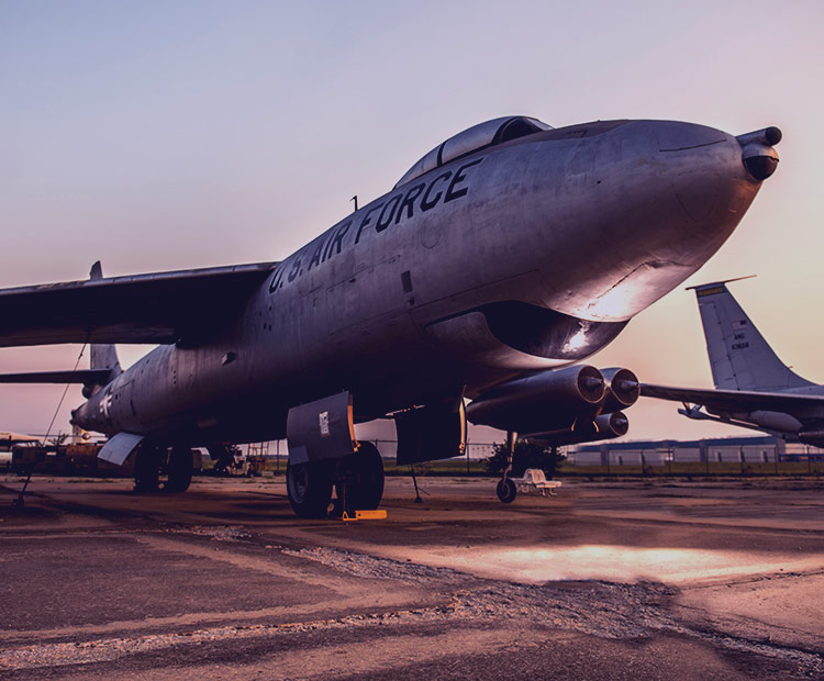 Exterior of an Air Force jet.